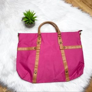 Pink & Cognac Faux Leather Tote Handbag